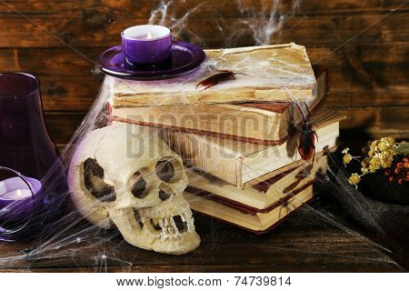 Frightful still life for Halloween, on wooden background poster