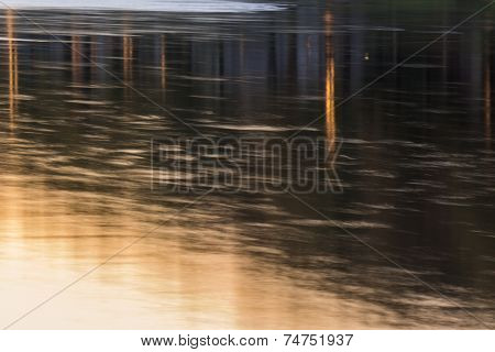 Abstract City Lights Reflection In River