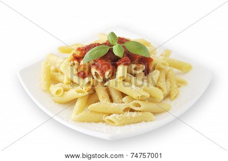 A typical Italian macaroni pasta with tomato ketchup, parmesan and basil in white dish