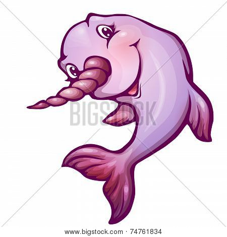 Vector illustration of narwhal in cartoon style