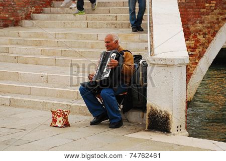 Accordion Player In Murano