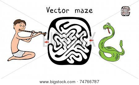 Vector Maze, Labyrinth education Game for Children with Snake and Fakir