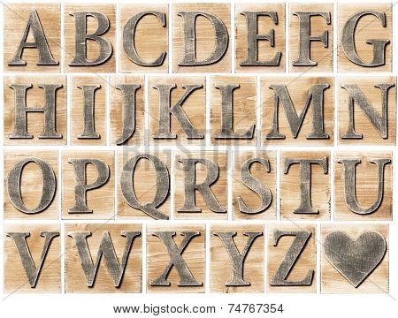 Wooden alphabet letter blocks isolated on white