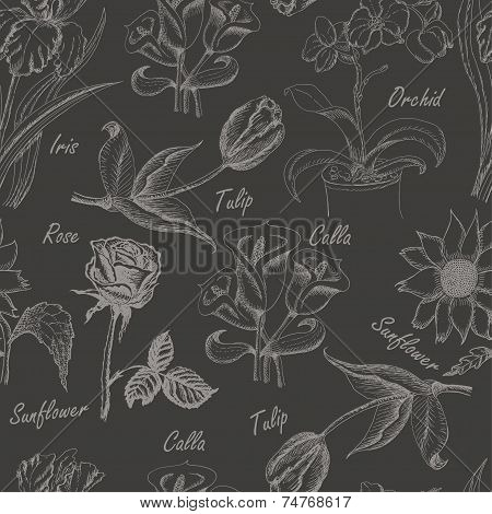 Hand Drawing Seamless Pattern Of Flowers. Iris, Calla Lily, Tulip, Orchid, Sunflower And Rose3