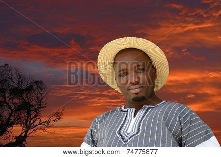 Black man on South African sunrise background