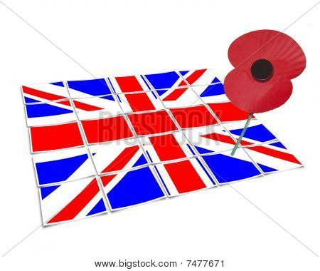 union jack and single poppy vector