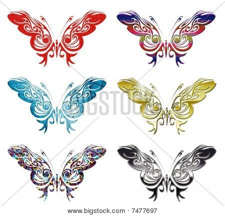 set of 6 butterfly vectors