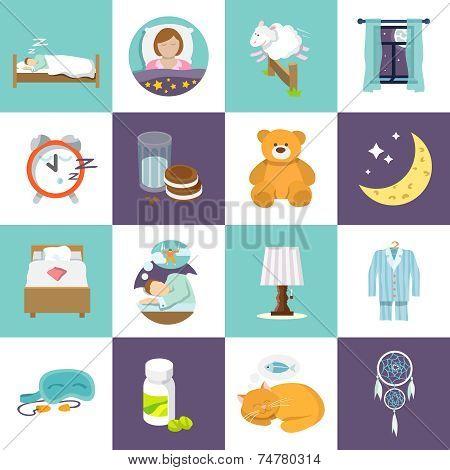 Sleep time icons flat