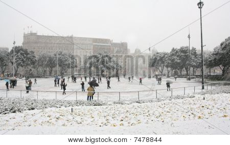Snowing In Downtown Barcelona