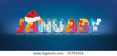 JANUARY written with alphabet puzzle with christmas hat - vector illustration