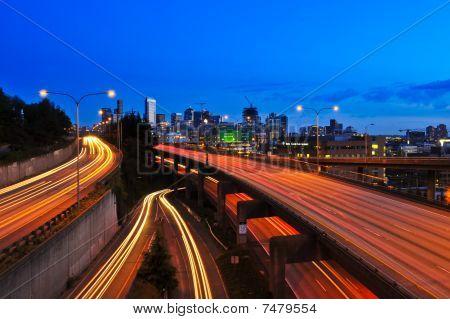 Freeway lights at night