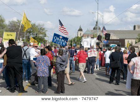 Wichita, Kansas - April 15: Tea Party Members Gather, April 15, 2010 In Wichita Ks.