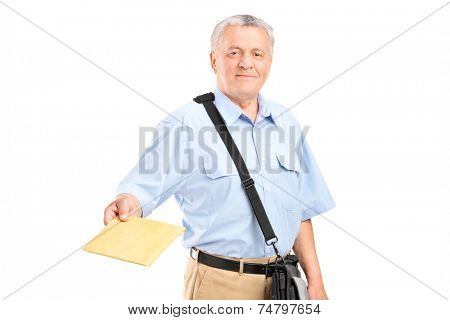 Mailman handing an envelope towards the camera isolated on white background