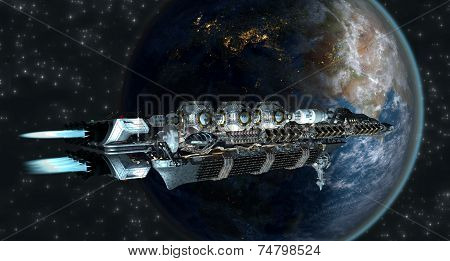 Spaceship fleet arriving to Earth
