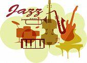 Colorful Jazz instruments set. isolated  on white. illustration poster