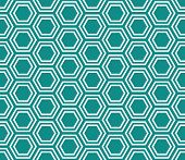 Teal and White Hexagon Tiles Pattern Repeat Background that is seamless and repeats poster