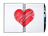 notepad book with painting heart poster