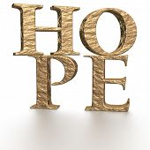 The three-dimensional word hope isolated on a white background. poster