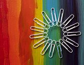 Paperclips arranged in a flower to demonstrate the power of diversity, anti bullying, acceptance, gay rights. poster