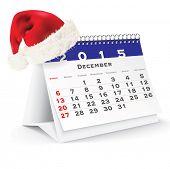 December 2015 desk calendar with Christmas hat - vector illustration poster