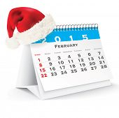 February 2015 desk calendar with Christmas hat - vector illustration poster