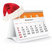 August 2015 desk calendar with Christmas hat - vector illustration poster
