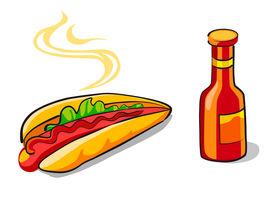 Hotdog and ketchup