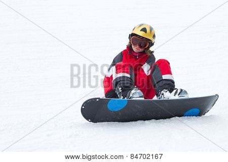 Little Girl Snowboarder In French Alps