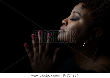 Very Nice Emotional Image of a beautiful Afro American Woman giving Thanks