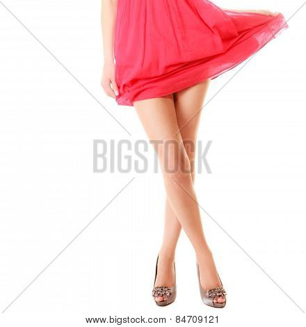 Sexy Female Legs In High Heels Isolated. Part Of Body.