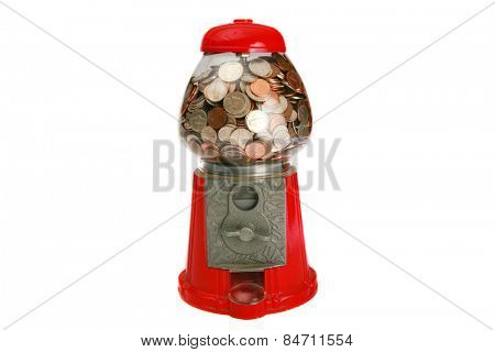 A Genuine Table-sized Gum Ball Machine, filled with change of quarters, dimes, nickles, pennies. put in a quarter and take your chances. Painted in cheerful colors, massive, metal-glass structure.