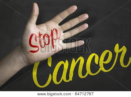 Stop Cancer educacional message on blackboard