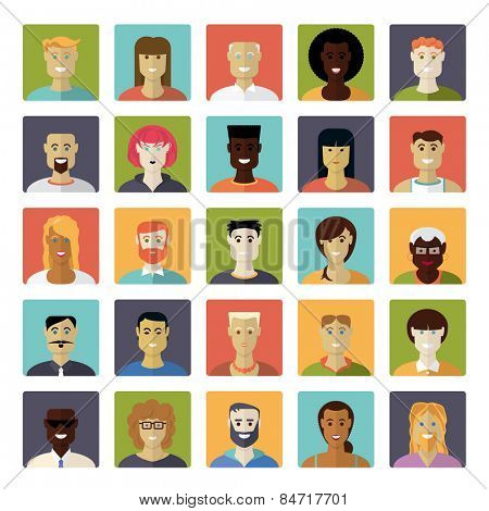 Flat Design Everyday People Avatar Vector Icon Set. Collection of 25 common people avatar icons in rounded squares.