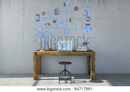 Laptop computer with cloud computing concept on the wall and the monitor (3D Rendering)