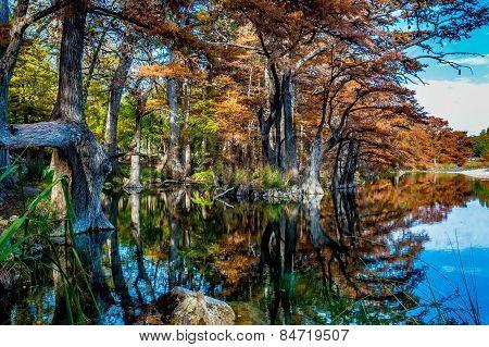 Beautiful Fall Reflections at Garner State Park, Texas