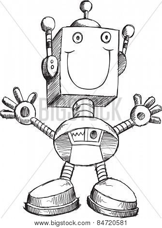 Doodle Sketch Robot Vector Illustration Art