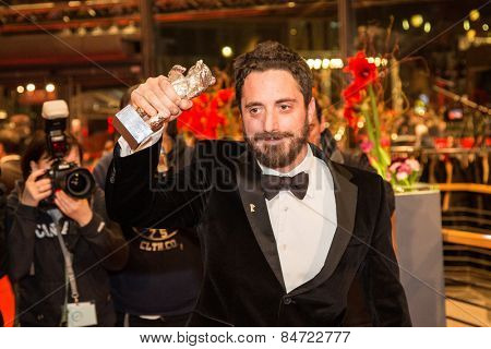BERLIN, GERMANY - FEBRUARY 14: P. Larrain, silver bear, movie 'El Club', Closing Ceremony. 65th Berlinale International Film Festival at Berlinale Palace on February 14, 2015 in Berlin, Germany