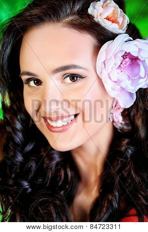 poster of Beautiful young woman with perfect skin and teethy smile looking at camera. Beauty, fashion. Healthcare, spa. Natural cosmetics and teeth care.