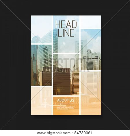 Business Flyer or Cover Design with Skyscrapers - Corporate Identity Design Template