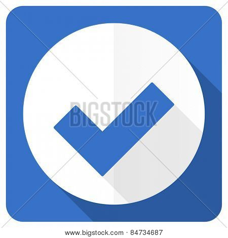 accept blue flat icon check sign  poster