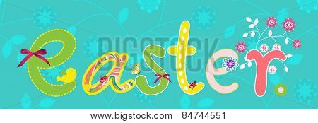 Colorful Happy Easter banner with flowers elements composition.