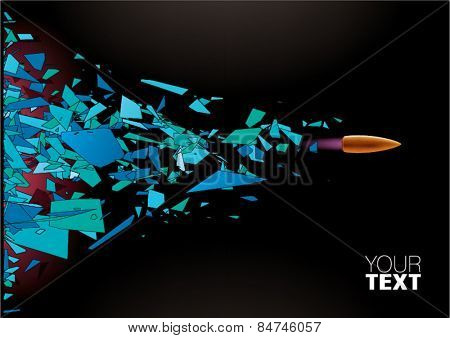 Bullet shot smashed the glass in the splinters. Vector illustration
