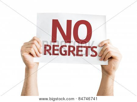 No Regrets card isolated on white background