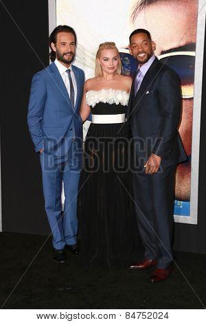 LOS ANGELES - FEB 24:  Rodrigo Santoro, Margot Robbie, Will Smith at the
