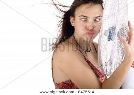 Woman Hugs The Fan