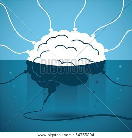 Human Brain In Strange Liquid With Wires. Vector Concept.