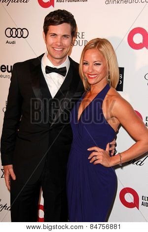LOS ANGELES - FEB 22:  Drew Seeley, Amy Paffrath at the Elton John Oscar Party 2015 at the City Of West Hollywood Park on February 22, 2015 in West Hollywood, CA