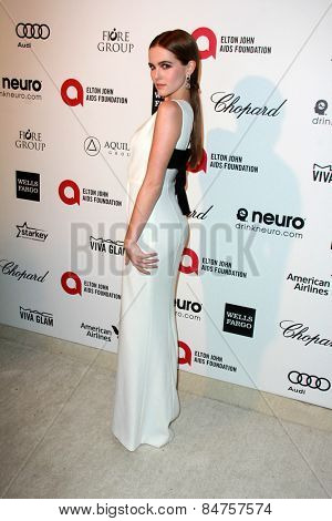 LOS ANGELES - FEB 22:  Zoey Deutch at the Elton John Oscar Party 2015 at the City Of West Hollywood Park on February 22, 2015 in West Hollywood, CA