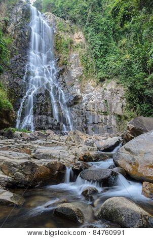 Tropical rainforest waterfall of Sunanta waterfall in Nakhon Si Thammarat, Thailand poster