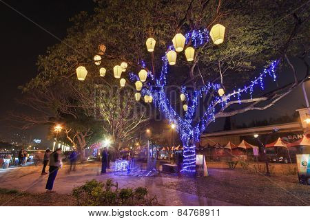 Kaohsiung, Taiwan, February 23, 2015: People At The Lantern Festival In Kaohsiung, Taiwan By The Lov